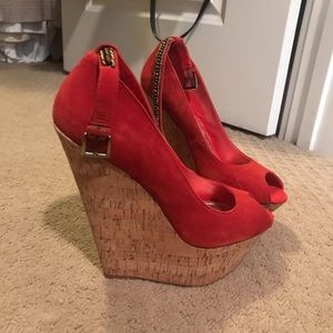 Wild Pair Shoes - Red/coral wild pair wedges size 9